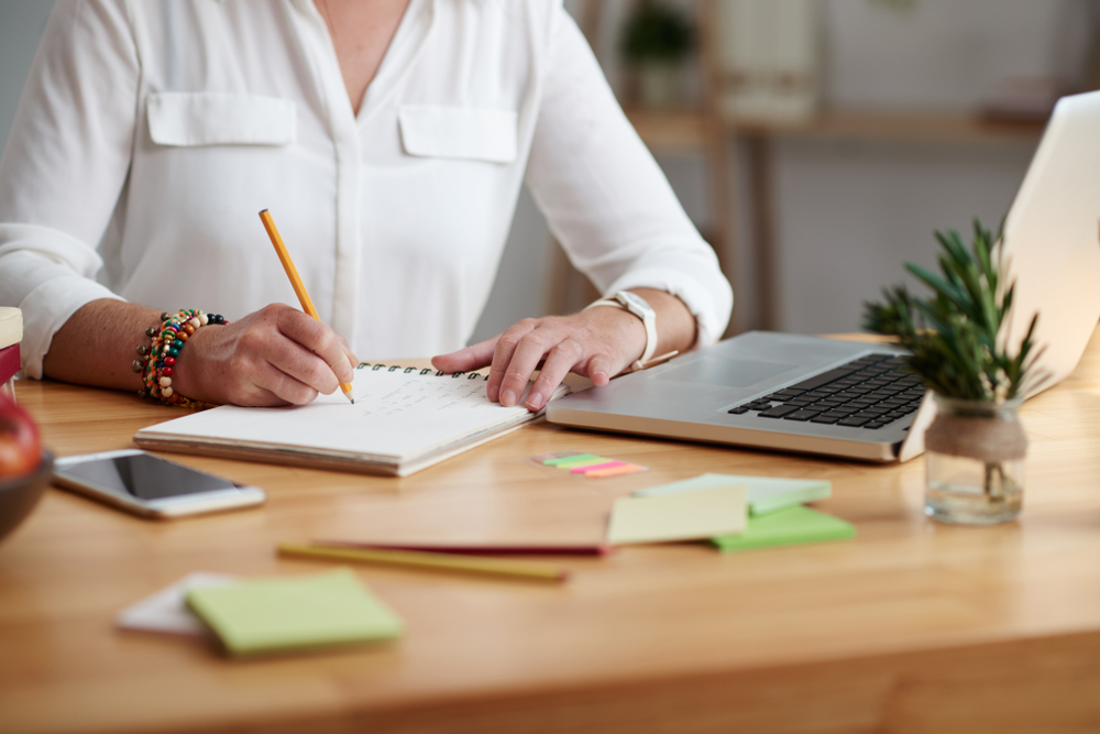 Planner, Laptop, Notebook On Desk
